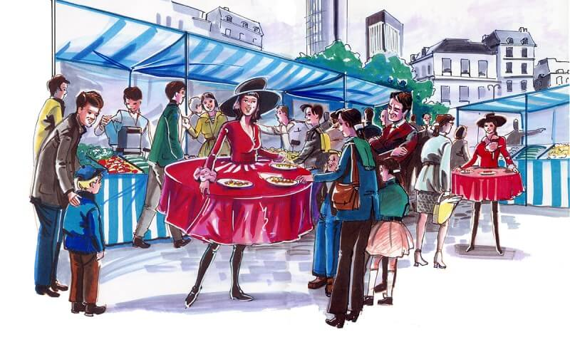 Scenographik - costume de femme table